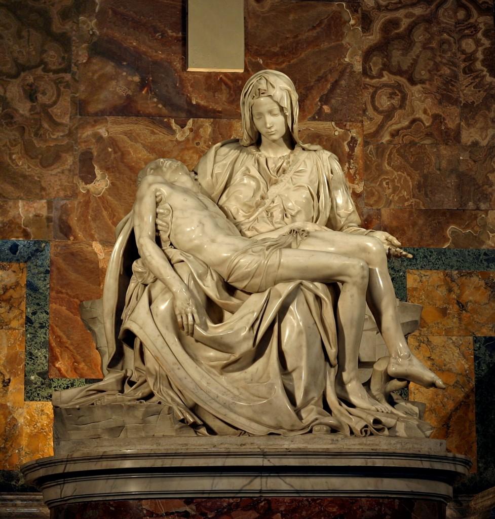 Pietà vaticana, Michelangelo 1497–1499, Basilica di San Pietro in Vaticano, Roma