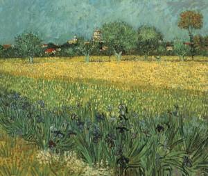Veduta di Arles con fiori in primo piano, Vincent Van Gogh, 1888