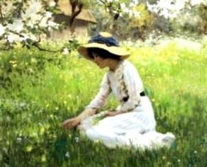 Les fleurs du printemps, Arthur Hacker, 1870