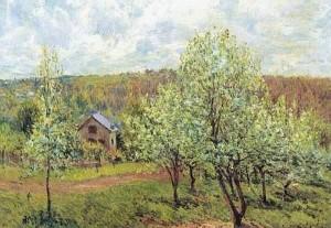 Primavera vicino Parigi. Meli in fiore, Alfred Sisley 1879